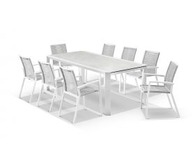 Tellaro Ceramic  Extension Table With Sevilla Rope Chairs 11pc Outdoor Dining Setting