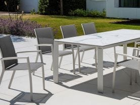Mona Ceramic Table with Sevilla Chairs -9pc Outdoor Dining Setting