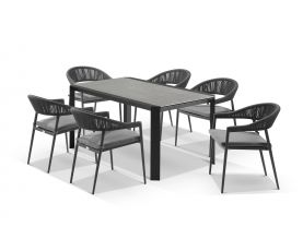 Tellaro Ceramic Table With Nivala Chairs 7pc Outdoor Dining Setting
