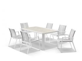 Tellaro Ceramic  Table With Sevilla Rope Chairs 7pc Outdoor Dining Setting