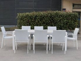 Tellaro Ceramic Table with Palmetto Dining Chairs -9pc Outdoor Dining Setting