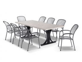 Luna 220 Table with Carlo Chairs -9pc Outdoor Dining Setting