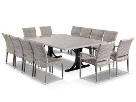 Luna 210  x  150 Table with  Lucerne Armless and Lucerne Arms Chairs -13pc Outdoor Setting