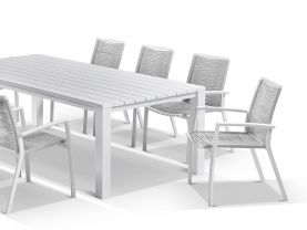Adele table with Sevilla Rope Chairs 9pc Outdoor Dining Setting