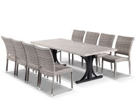 Luna 220 Table with Lucerne Chairs 9pc Outdoor Dining Setting