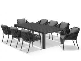 Adele Table With Java Chairs 9pc Outdoor Dining Setting