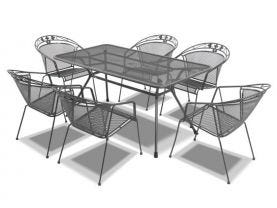 Tavio 160 with elegance chairs -7pc outdoor setting