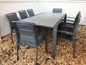 Tellaro Glass Top Extension Table with Verde Chairs -11pc Outdoor Setting