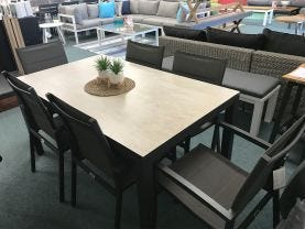 FLOOR MODEL- Verde table with Latina Chairs 7pc Outdoor Dining Setting