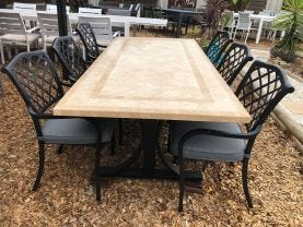 FLOOR MODEL -Verona Table with Florentine Chairs 7pc Outdoor Dining Setting