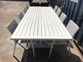 FLOOR MODEL- Vogue 260 Table with Sevilla Chairs 9pc Outdoor Dining Setting