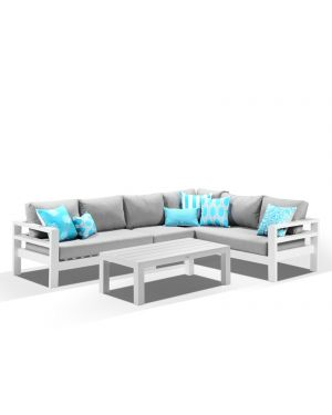 Aspen 6 Seater Outdoor Lounge - White / Cast Slate