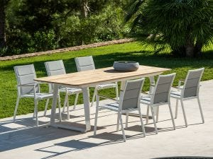 Elko Table with Sevilla Teak Arm Chairs 7pc Outdoor Dining Setting