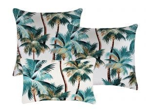 Palm Trees White  Outdoor Cushions 3 Pack