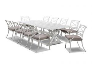 The Valencia with Vogue  Whitewash Outdoor  Setting -11pc