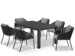 Adele Table with Java Chairs 7pc Outdoor Dining Setting