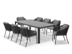 Tellaro Ceramic  Table With Java Chairs 9pc Outdoor Dining Setting