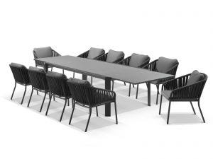 Tellaro Ceramic  Extension Table With Java Chairs 11pc Outdoor Dining Setting