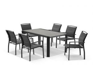 Tellaro Ceramic Table with Verde Chairs 7pc Outdoor Dining Setting