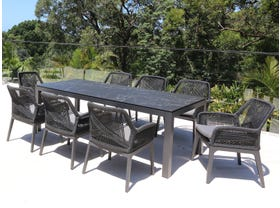 Danli Ceramic Table with Serang Chairs 9pc Outdoor Dining Setting