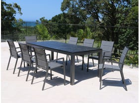 Danli Ceramic Table with Sevilla Padded  Chairs 9pc Outdoor Dining Setting