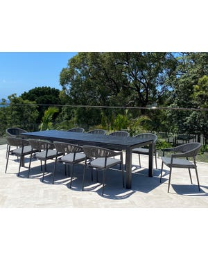 Danli Ceramic Table with Nivala Chairs 11pc Outdoor Dining Setting