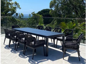 Danli Ceramic Table with Serang Chairs 11pc Outdoor Dining Setting