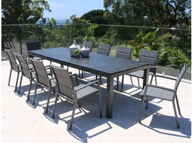 Danli Ceramic Table with Sevilla Padded  Chairs 11pc Outdoor Dining Setting