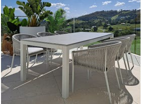 Danli Ceramic Table with Gizella Dining Chairs 7pc Outdoor Dining Setting