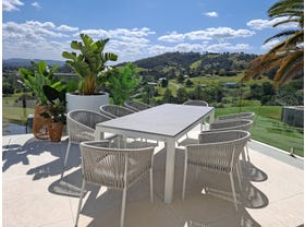 Danli Ceramic Table with Gizella Dining Chairs 9pc Outdoor Dining Setting