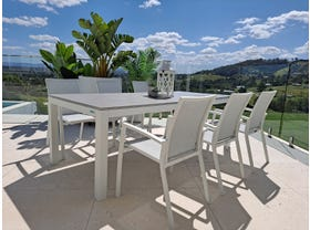 Danli Ceramic Table with Sevilla Dining Chairs 7pc Outdoor Dining Setting