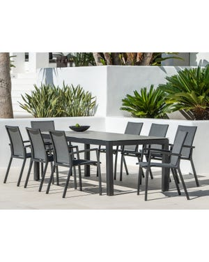 Danli Ceramic Table with Sevilla Chairs 9pc Outdoor Dining Setting