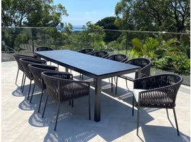 Danli Ceramic Table with Gizella  Chairs 11pc Outdoor Dining Setting