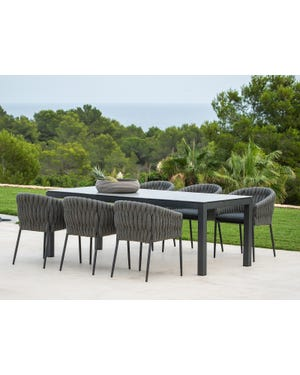 Danli Ceramic Table with Palm Dining Chairs -7pc Outdoor Dining Setting