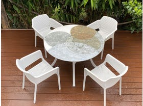 Domiziani Forma Lava Stone Round Table with Bailey Chairs - 5pc Dining Setting- SYD Floor Model