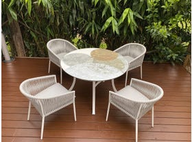 Domiziani Forma Lava Stone Round Table with Gizella Chairs - 5pc Dining Setting
