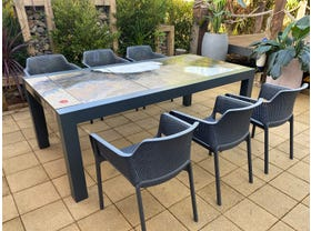 Brando Rock Lava Stone Table with Bailey Chairs- 7pc Dining Setting