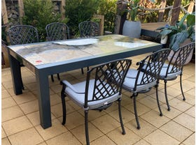 Brando Rock Lava Stone Table with Pizzaro Chairs- 7pc Dining Setting