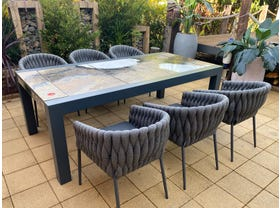 Brando Rock Lava Stone Table with Palm Chairs- 7pc Dining Setting