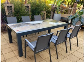 Brando Rock Lava Stone Table with Sevilla Chairs- 7pc Dining Setting