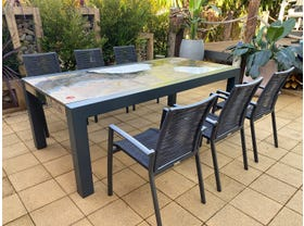 Brando Rock Lava Stone Table with Sevilla Rope Chairs- 7pc Dining Setting