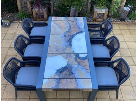 Brando Rock Lava Stone Table with Serang Chairs- 7pc Dining Setting