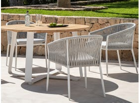 Elko Round Table with Gizella Chairs 5pc Outdoor Dining Setting