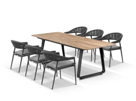Elko Table with Nivala Chairs 7pc Outdoor Dining Setting