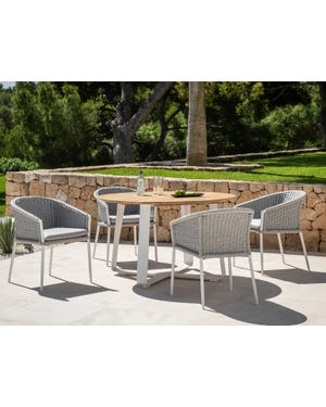 Elko Round Table with Isla Chairs 5pc Outdoor Dining Setting