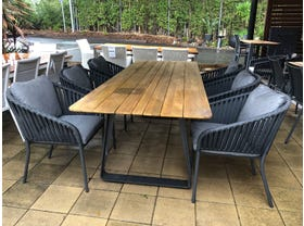 FLOOR MODEL -Elko Table with Java Chairs 7pc Outdoor Dining Setting