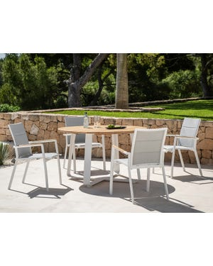 Elko Round Table with Sevilla Teak Arm Chairs 5pc Outdoor Dining Setting