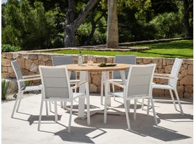 Elko Round Table with Sevilla Teak Arm Chairs 7pc Outdoor Dining Setting