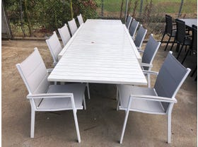 FLOOR MODEL- Hague Extension Table with Latina Chairs 11pc Outdoor Dining Setting