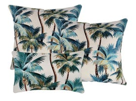Palm Trees Natural Outdoor Cushions 3 Pack